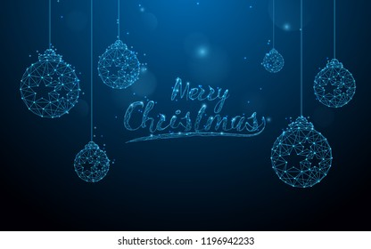 Christmas balls form lines, triangles and particle style design. Illustration vector