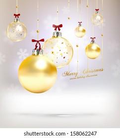 Christmas balls, golden Xmas baubles, vector