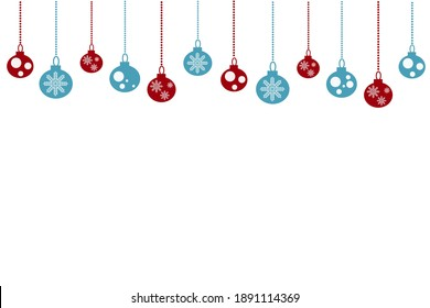 Christmas balls isolated on white background. Postcard, holiday.