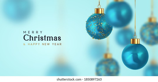 Christmas balls Motion blur effect. Happy New Year and Merry Christmas. Background with realistic 3d blue Xmas bauble balls hanging on ribbon. vector illustration