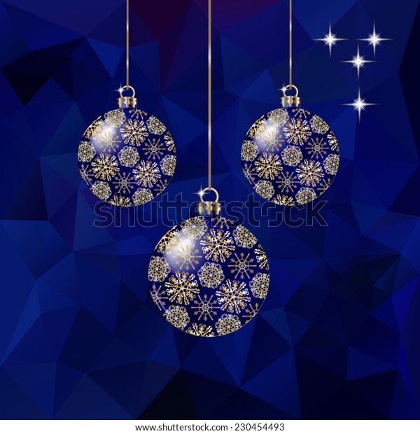 Christmas balls  on abstract triangles vector background in red tones.