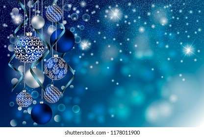 Christmas balls on blue background with Stardust sparks. Christmas Vector New Year design for greeting card, party invitation, holiday sales.