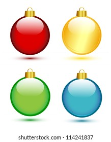 Christmas balls on white (red,gold,green,blue)
