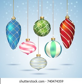 Christmas balls ornaments hanging on gold thread. Vector illustrations.