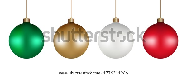 Christmas balls ornaments set. Green, Gold, White, and Red color, hanging isolated on white background. Bauble decor. Holiday decoration. Vector illustration.