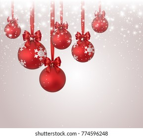 Christmas balls with red bow, ribbon on shimmer light background. Xmas elements, Christmas tree decorations, glitter, stars, falling glowing snow. Vector sparks snowflakes effect for New Year design