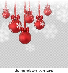 Christmas balls with red bow, ribbon on shimmer light transparent background. Xmas elements, Christmas tree decorations, glitter and falling snow. Vector sparks snowflakes effect for New Year design.