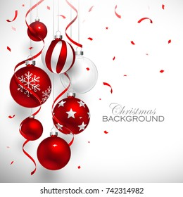 Christmas balls of red color with red ribbons and confetti. Vector illustration