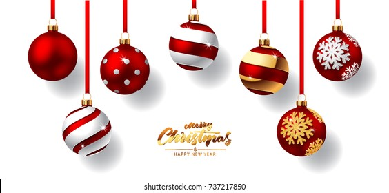 Christmas balls with red ribbon