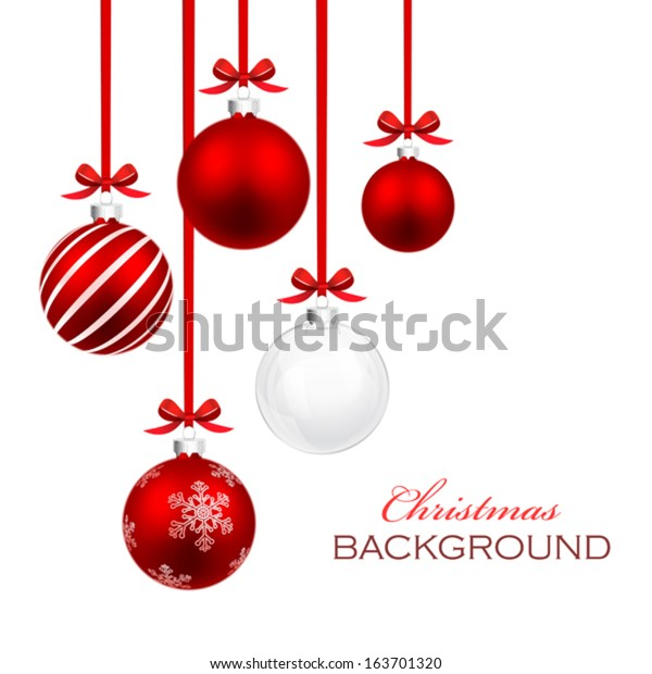 Christmas balls with red ribbon and bows