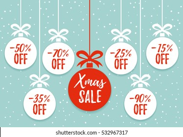 Christmas balls sale. Xmas sale background. Winter holiday discount offer clearance red template.Special offer vector tag. Price off, New year holiday card template. Shop market poster design. Vector