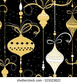 Christmas balls seamless pattern Gold black white theme
