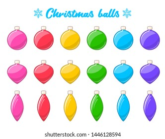 Christmas balls set. Isolated cartoon icons of colorful Christmas balls. New Year decoration