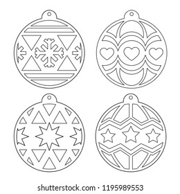 Christmas balls. A set of stencils for cutting. Decorating the Christmas tree for laser cutting, plotting cutting, printing. Vector outline image on a white background.