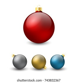 Christmas balls with shadow on the white background.