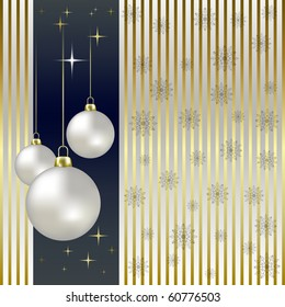 Christmas balls and snowflakes on a gold background