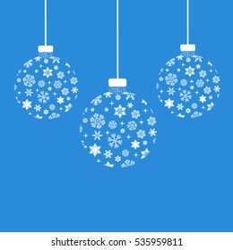 Christmas balls and snowflakes. Vector illustration.