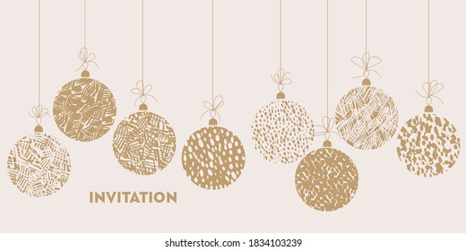 Christmas balls in soft cosy laconic style ornament for card, header, invitation, poster, social media, post publication.