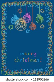Christmas balls, stars and frame of doodles. Invitation and greeting card with lettering - Merry Christmas. Holiday dark blue background. Abstract simple illustration in childish hand drawn style