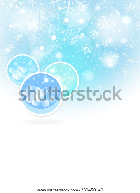 Christmas balls  and stars in the frosty background. Christmas greeting card. Place for your text. Vector EPS10.