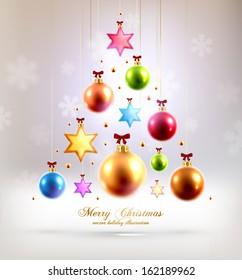 Christmas Balls and Stars. Xmas Decorations. Blur Silver Snowflakes. Vector.