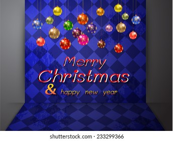 Christmas balls from vector background. Old checker chess square floor abstract background