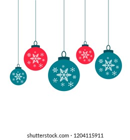 Christmas balls vector decorations snow