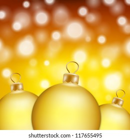 Christmas balls and yellow abstract background