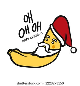 Christmas banana oh oh oh cute cartoon doodle style vector illustration