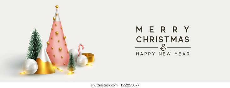 Christmas banner 3D render illustrations. Composition metallic pine, green spruce trees. round spheres of snowballs. New Year cone shape trees. Horizontal Xmas poster, greeting cards, header, website.