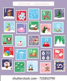 Christmas banner: advent holiday calendar. Santa Claus, snowman, reindeer, gift box, gingerbread man, candy, socks, christmas tree, bear, ball, cat, sledge. Cartoon style. Doodles. Vector illustration