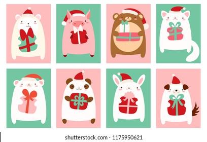 Christmas banner, background, flyer, placard with cute animals. Holiday poster for scrapbooking. Vector template card for greeting, decoration, congratulation, invitation. EPS8