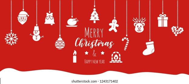 christmas banner background, vector design with hanging ornaments icons