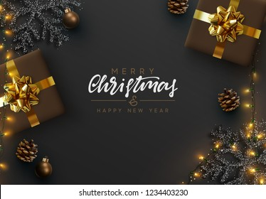 Christmas banner. Background Xmas design of sparkling lights garland, realistic gifts box, black snowflake and glitter gold. Christmas poster, greeting cards, headers, website. Stylish black pattern