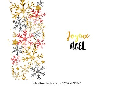 Christmas banner. Background Xmas design of snowflakes, black snowflake and glitter gold confetti. Horizontal christmas poster, greeting cards