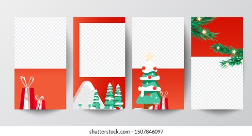 Christmas banner. Background xmas design of christmas trees with gifts. Horizontal christmas poster, greeting cards, headers, website