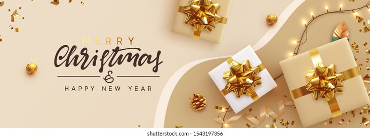 Christmas banner. Background Xmas design of sparkling lights garland, with realistic gifts box, glitter gold confetti. Horizontal New Year poster, greeting card, header, website. Design Flat top view