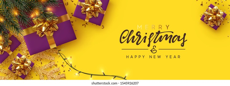 Christmas banner. Background Xmas design of sparkling lights garland, lilac realistic gifts box, gold snowflake and glitter gold confetti. Horizontal christmas poster, greeting cards, headers, website