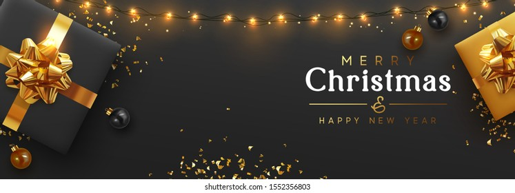Christmas banner. Background Xmas design of sparkling lights garland, realistic gifts box, black balls and glitter gold confetti. Horizontal christmas poster, greeting cards, headers website
