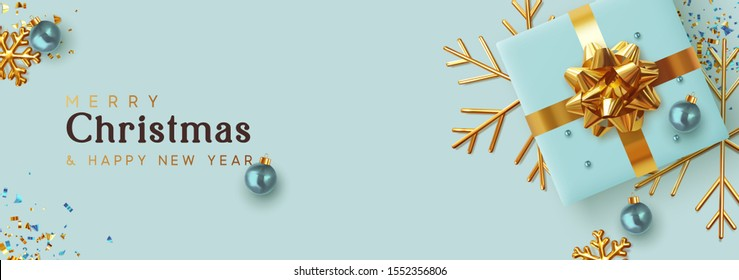 Christmas banner. Background Xmas design of realistic blue gifts box, golden 3d render snowflake and glitter gold confetti, bauble ball. Horizontal christmas poster, greeting cards, headers website