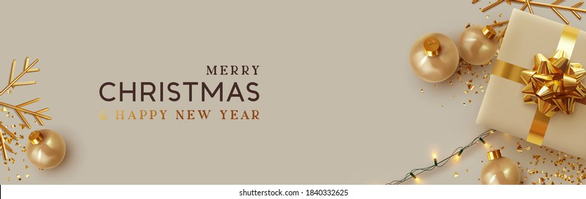 Christmas banner. Background Xmas design of realistic beige gifts box, golden 3d render snowflake and glitter gold confetti, bauble ball. Horizontal christmas poster, greeting card, header for website