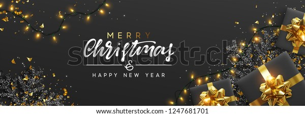 Christmas Banner Background Xmas Design Sparkling Stock