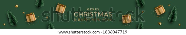 Christmas banner. Background Xmas design of realistic beige gifts box, decorative green tree pine, gold star, golden tinsel confetti. Horizontal Christmas header for website template, flat top view.