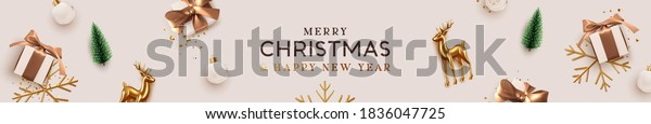 Christmas banner. Background Xmas design of realistic gifts box, gold metal deer, decorative tree pine, white ball, golden snowflake. Horizontal Christmas header for website template, flat top view.
