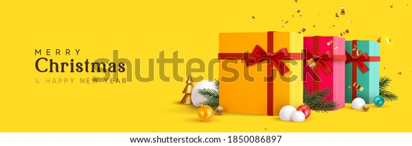 Christmas banner. Background Xmas design of realistic gift box, festive decoration objects 3d bauble ball, gold metal cone pine tree. Horizontal new year poster, greeting card, headers for website