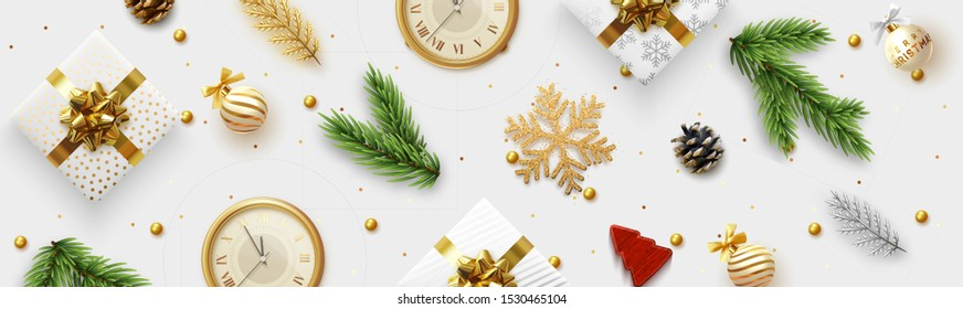 Christmas banner. Background Xmas objects viewed from above. Pattern Merry Christmas and happy New Year. Xmas realistic decorative design elements. Horizontal poster, website header, flat top view.