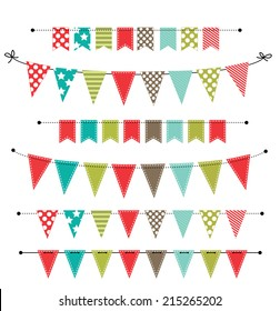Christmas banner, bunting or flags on transparent background, for scrapbooking, vector format