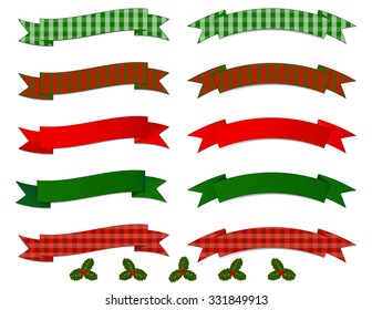 Christmas Banner Collection - Set of simple arching and flowing Banners in red and green gradients and plaid patterns