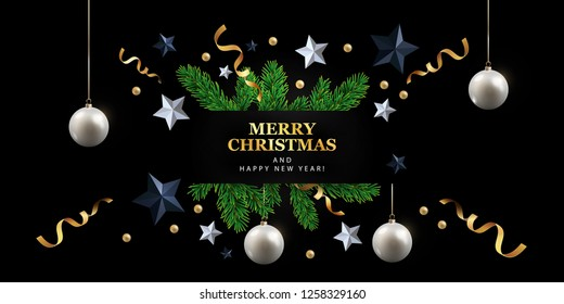 Christmas banner design. Timeline cover or header with Festive Elements – Black and silver Stars, Gold tinsel, white christmas balls and green realistic fir branches. Black background. Vector eps10
