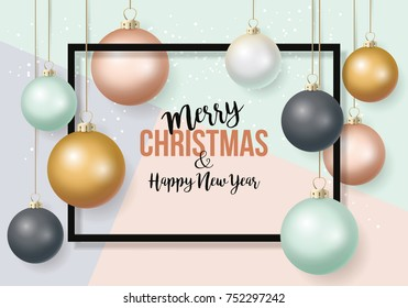 Christmas banner design with typography and baubles decorations background